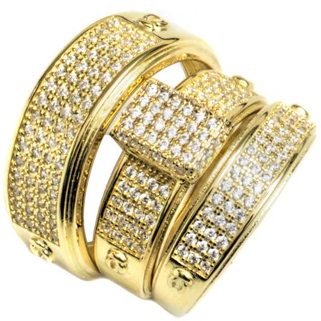Pori Jewelers CZ 18kt Gold over Sterling Silver Micro-Pave Rectangle Trio Engagement Ring