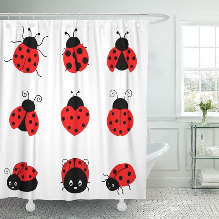 PKNMT Red Bug Cute Colorful Ladybugs Clipart Collection White Lady Beetle Ladybird Cartoon Bathroom Shower Curtain