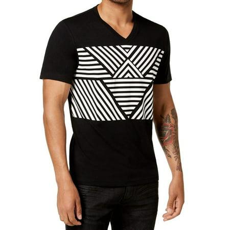 Black White Men's Small Line Stripe Graphic Tee T-Shirt $29 S