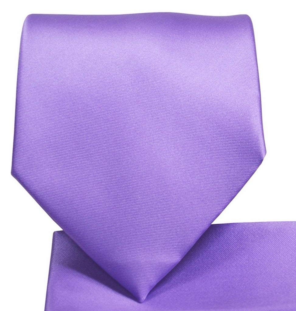 Light Blue Mens Clip On Tie with Sky Check and small Purple Lilac Square Clipper