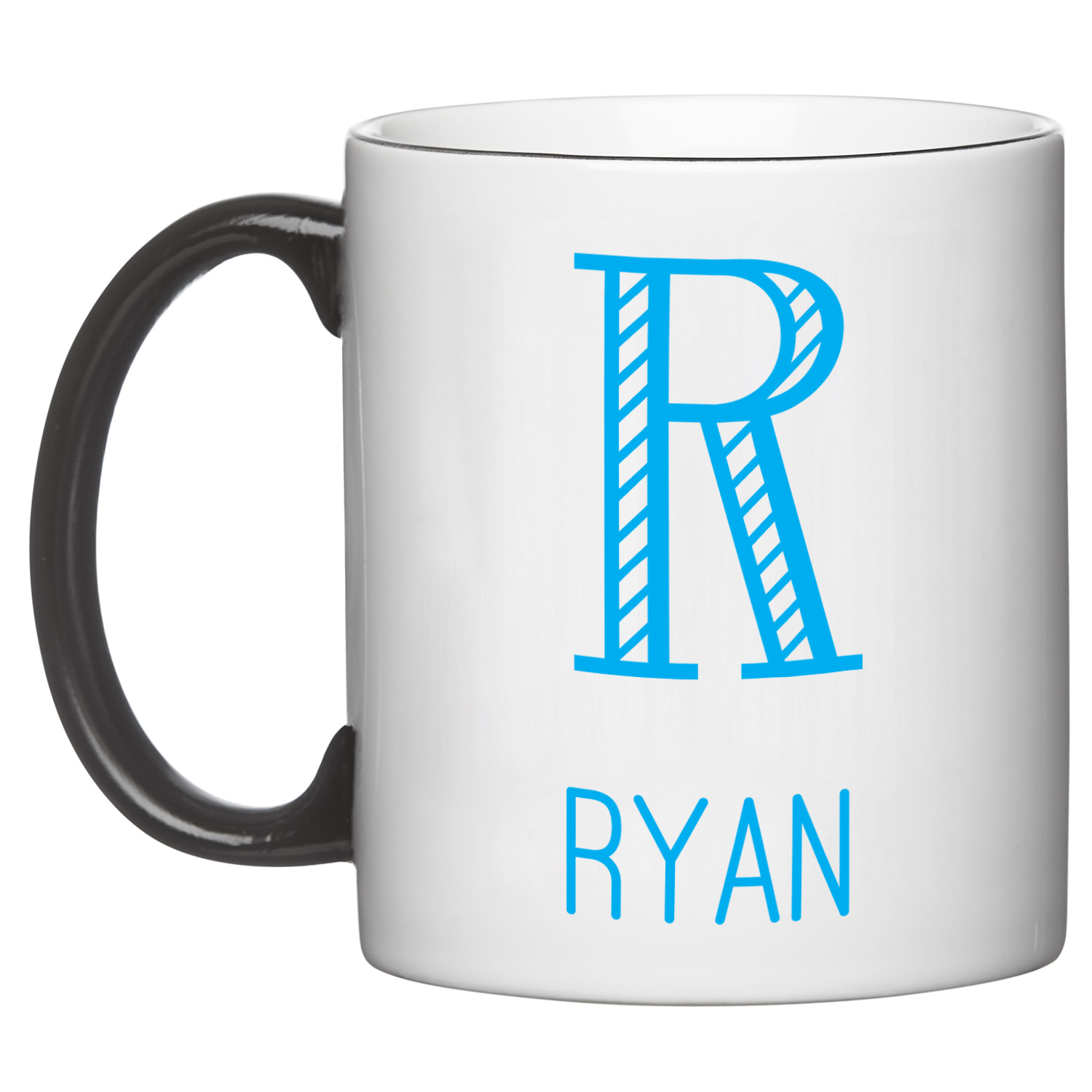 Personalized Whimsical Name & Monogram Mug - Black-Available in - Colors