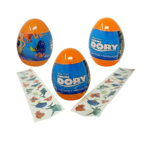 Finding Dory Eggs with Temporary Tattoos (3 Pack) - 40 Tattoos Each - Dora Tattoos