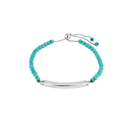 Sterling Turquoise Beaded Bracelets (Sterling Silver Turquoise Bead and Polished Bar Bolo Adjustable Bracelet)
