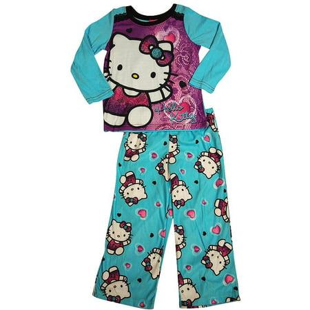 Hello Kitty - Big Girls Long Sleeve Hello Kitty Pajamas Turquoise / 8](Hello Kitty Parties)