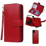 2 IN 1 Leather Wallet Case with 9 Credit Card Slots and Removable Back Cover for iPhone X (Red)