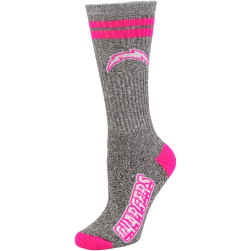Los Angeles Chargers Ladies Marble Tall Socks - Gray/Pink - Lad 9-11