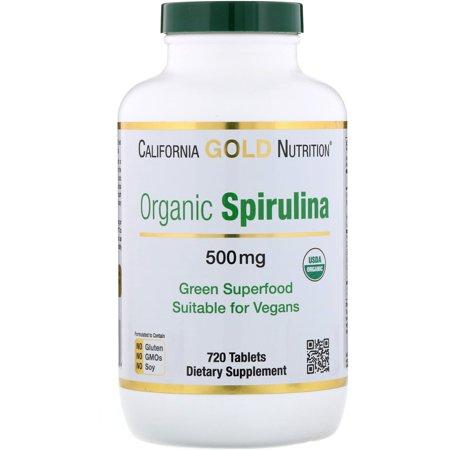 California Gold Nutrition  Organic Spirulina  USDA Certified  500 mg  720 Tablets
