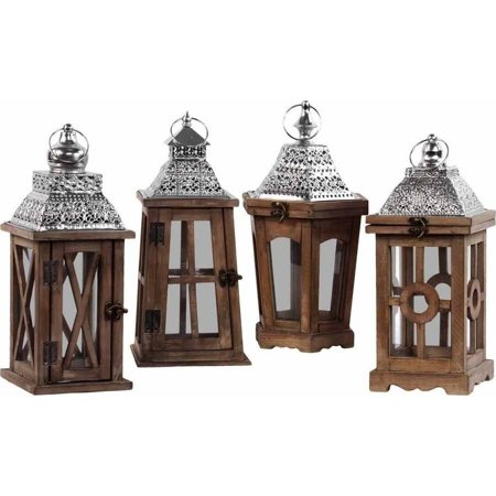 Lantern Hanger - Urban Trends Collection: Wood Lantern, Stained Wood Finish, Silver, Brown