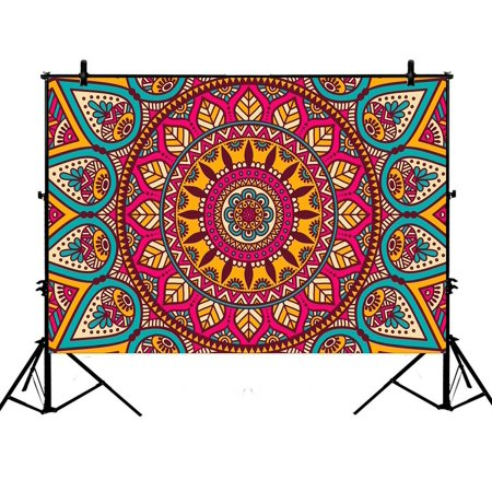 PHFZK 7x5ft Indian Vintage Style Backdrops, Floral Mandala Bohemian Photography Backdrops Polyester Photo Background Studio Props