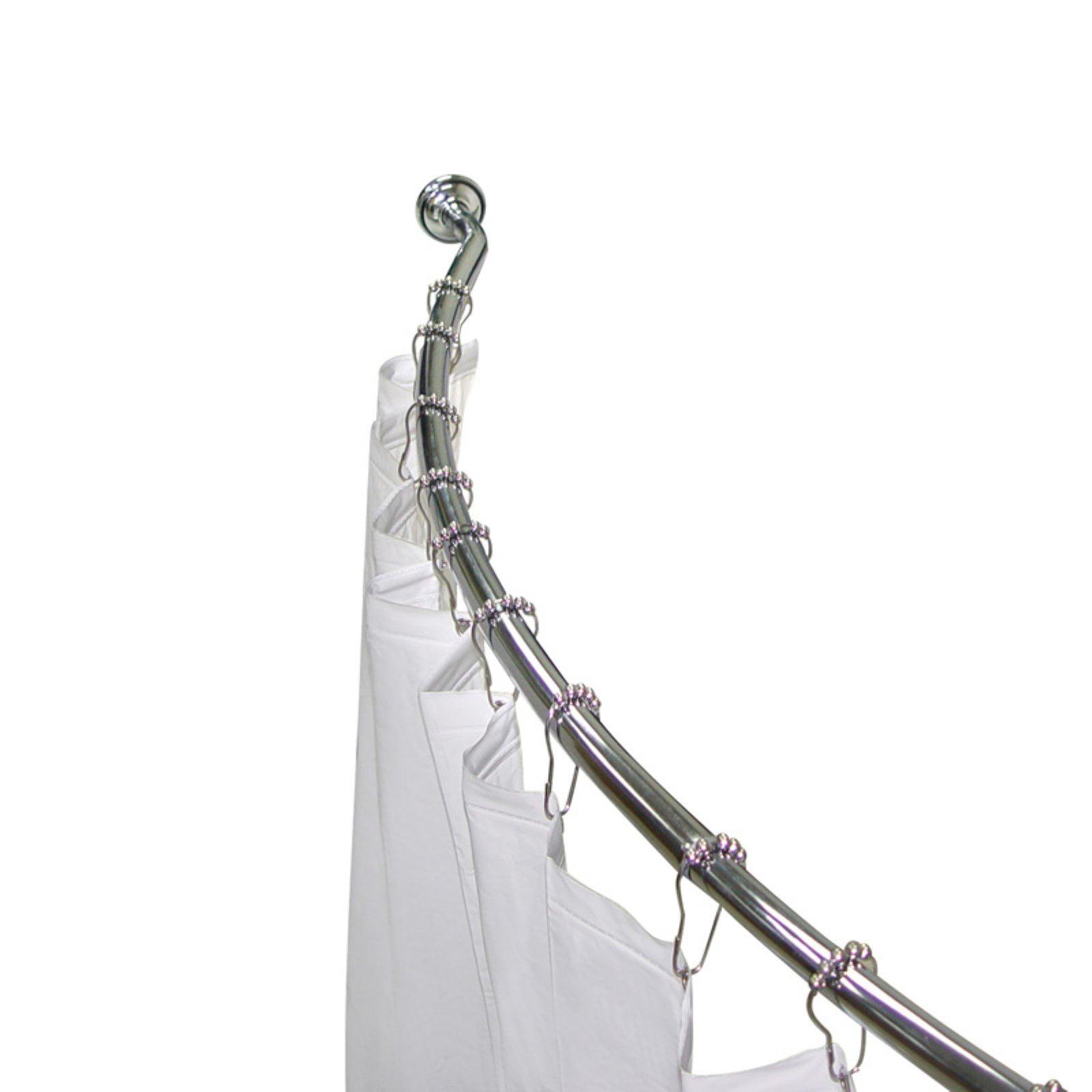 Elegant Home Fashions 3-in-1 Adjustable Curved Shower Rod Value Pack with Shower Hooks