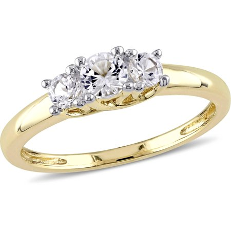 5/8 Carat T.G.W. Created White Sapphire 10kt Yellow Gold Three Stone Engagement Ring (Engagement Rings Yellow Gold)