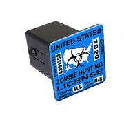 """Zombie Hunting License Permit Blue - Biohazard Response Team 2"""" Tow Trailer Hitch Cover Plug Insert"""