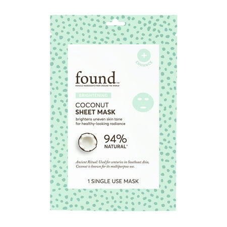 (2 Pack) FOUND BRIGHTENING Coconut Sheet Mask, 1 Single Use
