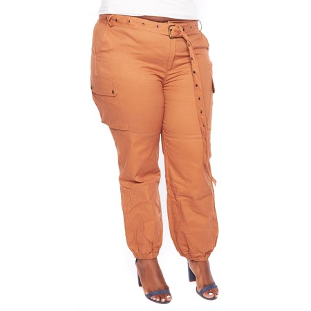 46e680ef1fd Genx - Womens Casual Plus Size Solid Side Cargo Belted Long Jogger Pants  HDP9579-XL-Camel - Walmart.com