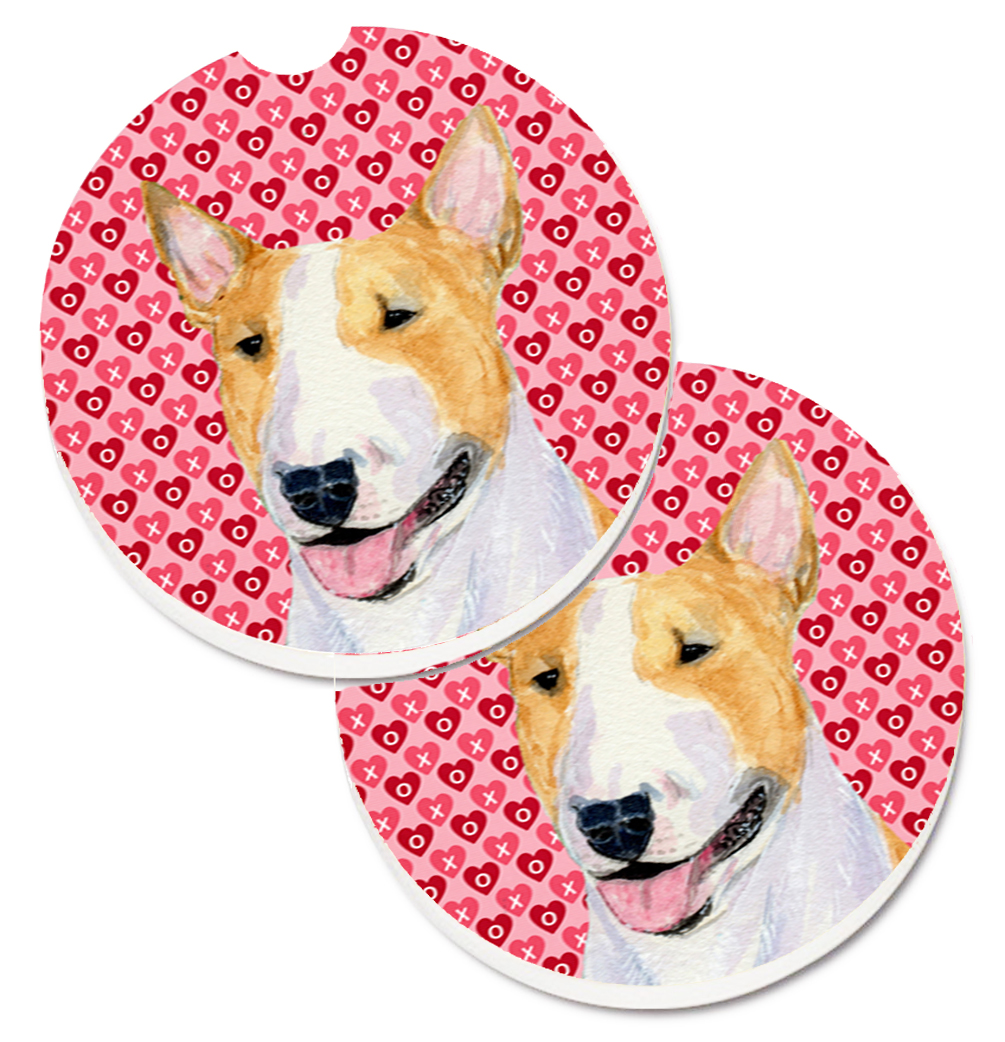 Bull Terrier Hearts Love and Valentine's Day Portrait Set of 2 Cup Holder Car Coasters SS4496CARC
