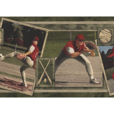 Vintage Baseball Cards Sports Retro Cracked Wallpaper Border Roll 15 X 7 Walmart Canada