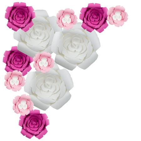 Quasimoon 12 Pc Combo Giant White Hot Pink Rose Paper Flower