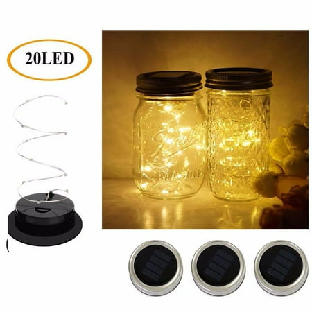 3 Pack Solar Mason Jar Lid Insert LED Mason Jar Solar Light for Glass Mason US (Jaw String)