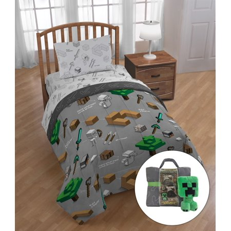- Minecraft Twin Bed in a Bag Bedding Set with Bonus Tote and Mini Pillow Buddy