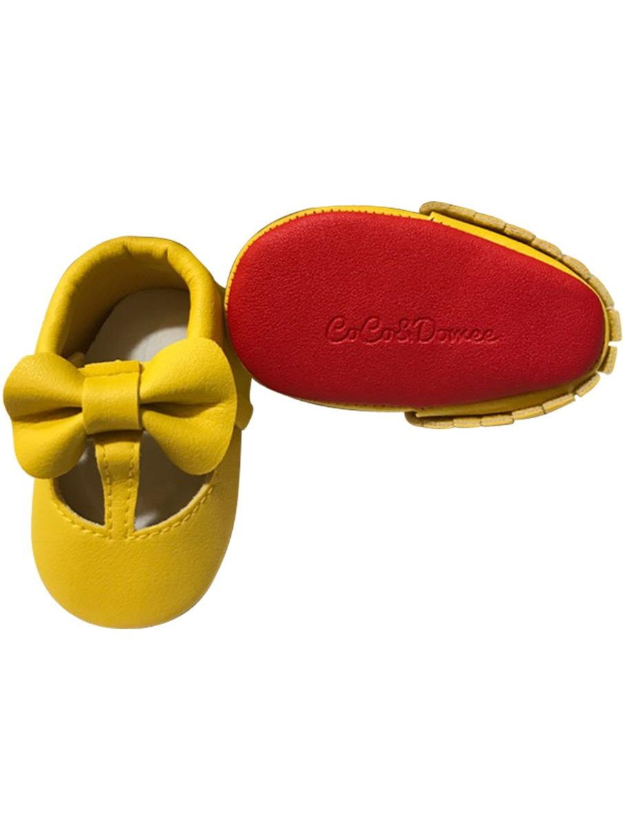 Baby Girls Yellow Red Cutout Bow Soft Sole Faux Leather Crib Shoes 3-18M
