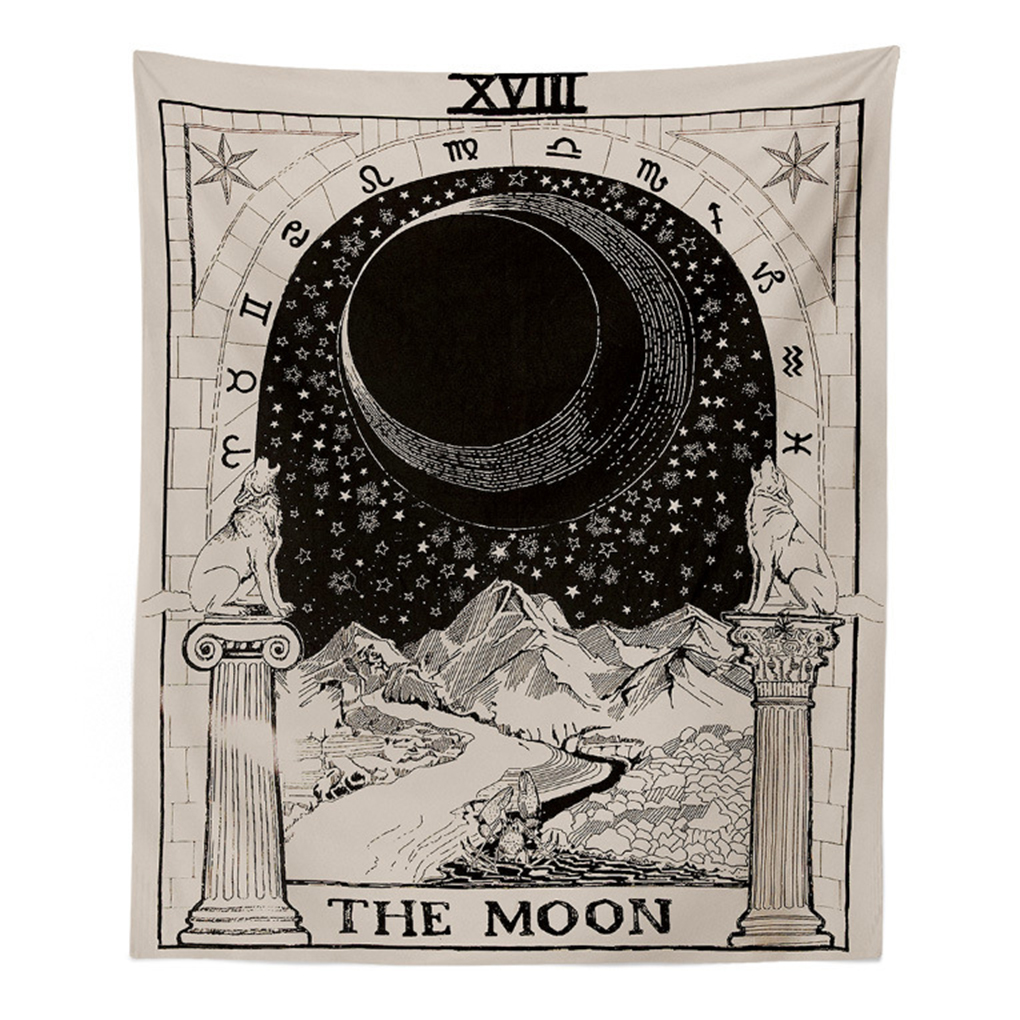 Star And Moon Girl Black And White Series Home Divination Tapestries,Tarot Tapestry,Wall hangings Beach Towel,Living Room Decoration Cloth