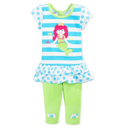 Nannette Baby Girls 2-Piece Top & Legging Set - Blue & Green Mermaid - 9M](Toddler Mermaid Outfit)
