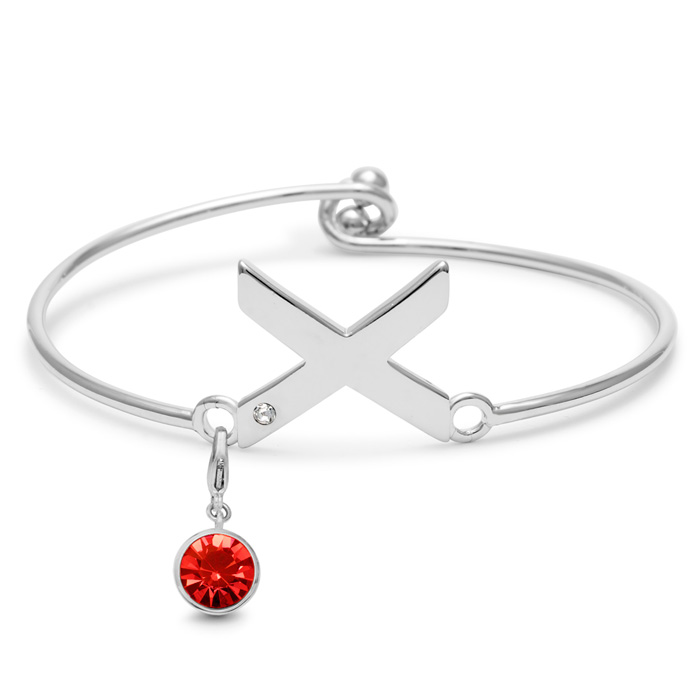 Initial Bangle Bracelet With White Crystal and Ruby Crystal Birthstone, For July Babies