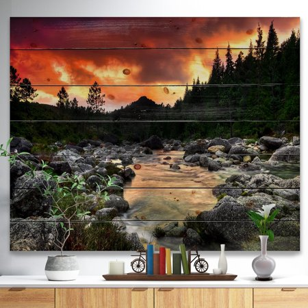 DESIGN ART Designart 'Rocky Mountain River at Sunset' Wall Art Landscape Print on Natural Pine Wood -