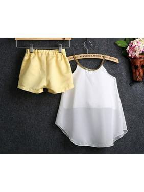 Cute Summer Kids Toddler Girls Chiffon Strap Tops Shirt Shorts Outfits Set summernight7