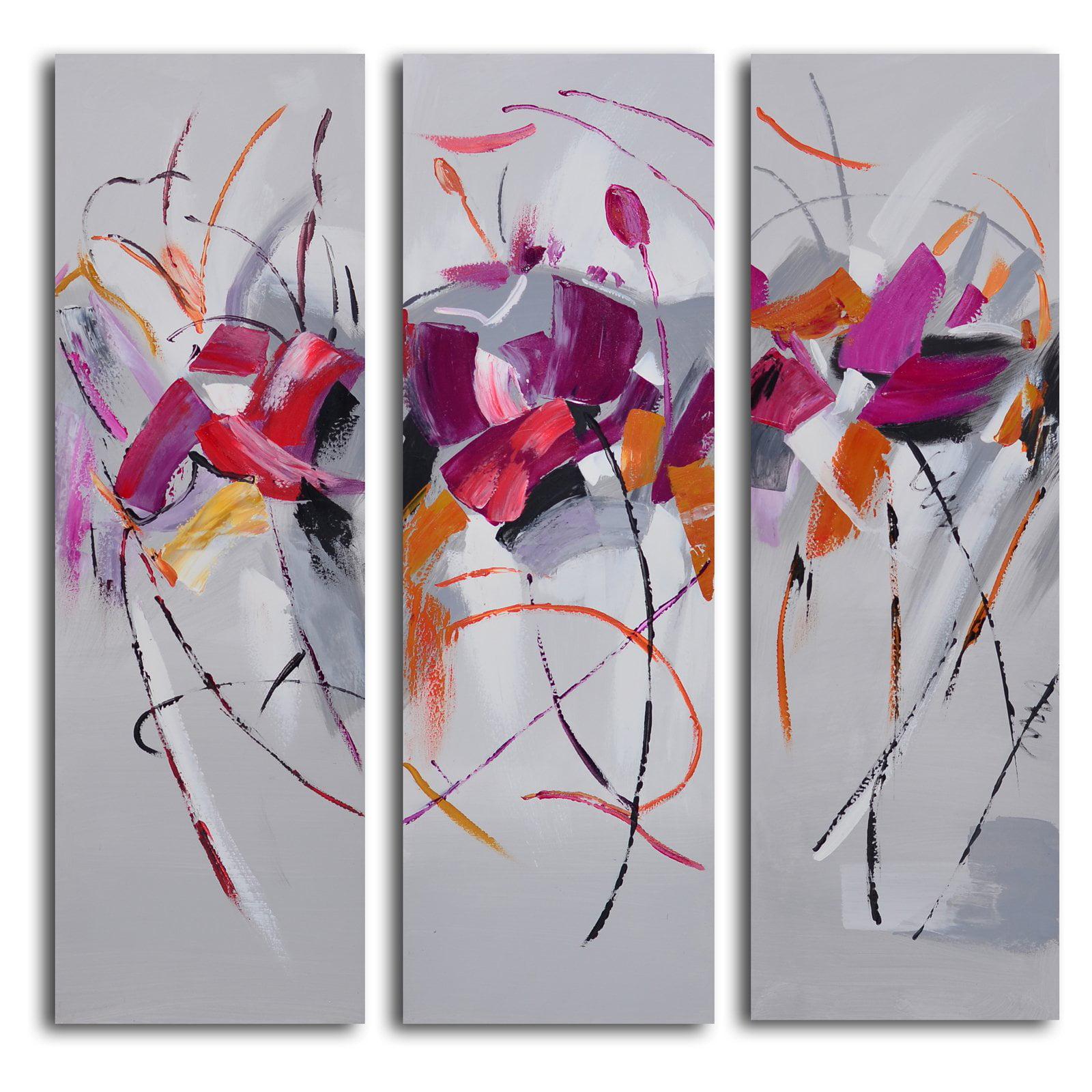 3 piece canvas wall art sets artwork fuschia frolicking flower triptych 3piece canvas wall art set walmartcom