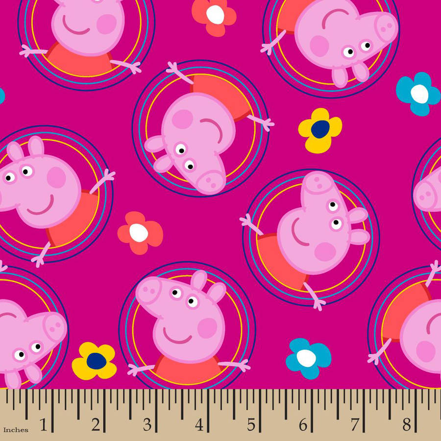 "Peppa Pig Badges Fabric by the Yard, Pink, 43/44"" Width"