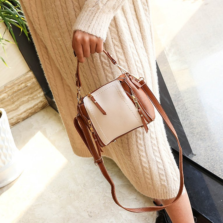 Autumn Winter Women Fashion Square Shape Contrast Color Single Shoulder Bag Female Casual Mini Handbag Messenger Bag