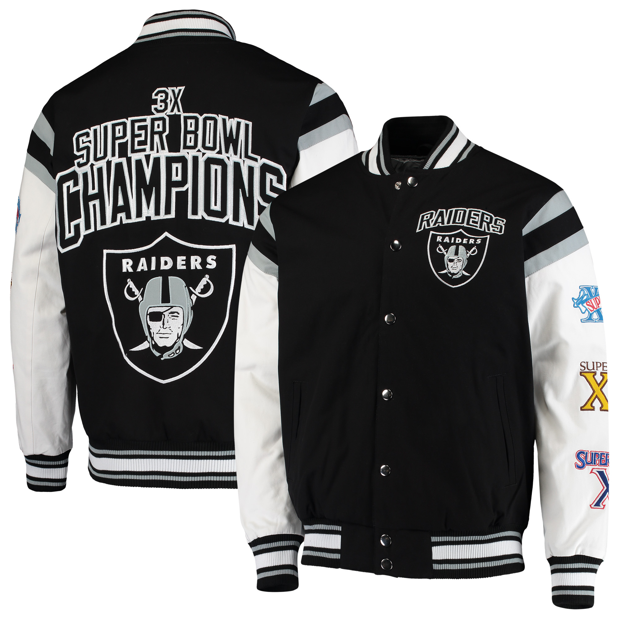 Oakland Raiders G-III Sports by Carl Banks Home Team Cotton Canvas Varsity Jacket - Black/White