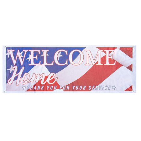 Juvale Welcome Home Deployment Banner - American Flag Decorations for Military, Army, Soldier, Marine, Navy, and USMC, 62.2 x 22 Inches ()