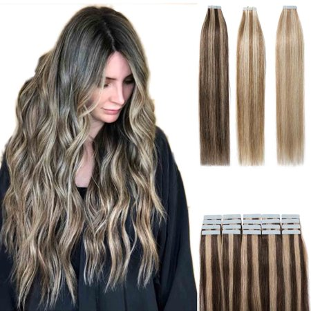 S-noilite Tape in Human Hair Extensions Highlight Balayage Long Straight Seamless Skin Weft Glue in Hairpieces Invisible Double Sided Tape ,Brown & bleach (Black Hairstyles For Long Hair With Side Bangs)