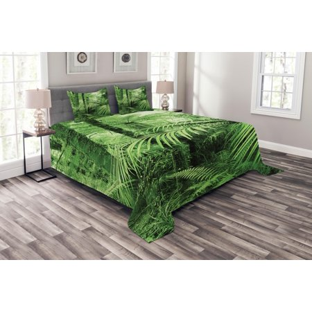 Rainforest Bedspread Set, Palm Trees and Exotic Plants in Tropical Jungle Wild Nature Zen Theme Illustration, Decorative Quilted Coverlet Set with Pillow Shams Included, Green, by Ambesonne - Jungle Themed Clothing Ideas