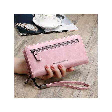 - PU Leather Long Wallet Clutch Handbag Zipper Organizer Wristlets Card Cellphone Holder Purse for Women Lady Girls 7.9inch