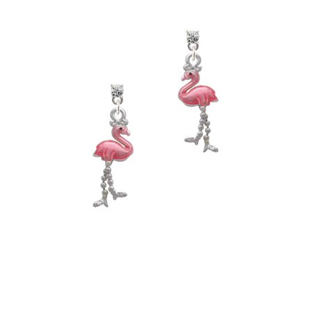 Silvertone Flamingo with Dangle Legs Clear Crystal Post - Crystal Post Dangle Earrings