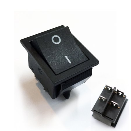 TrendBox 50 Black Button 4 Pin DPST ON/OFF 2-Position Illuminated Light Indicator Boat Snap Rocker Switch AC 250V 15/30A