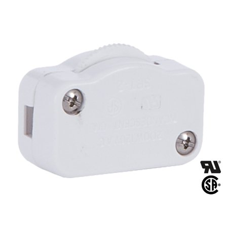 Cord Dimmer - B&P Lamp® White Hi-Low Inline Dimmer Switch For 18/2 Spt-1 Lamp Cord