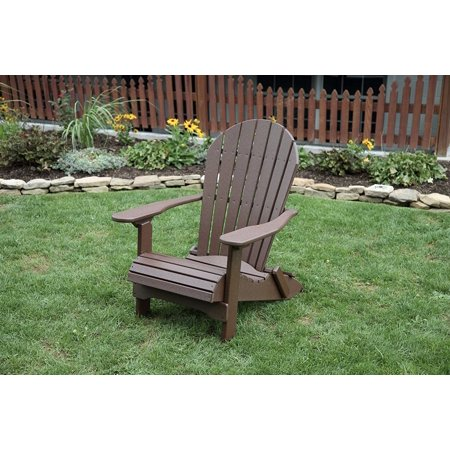 Weathered Wood POLY LUMBER Rolled Seating Heavy Duty EVERLASTING Lifetime PolyTuf HDPE AMISH CRAFTED Folding Adirondack Chair ()