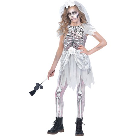 Bride Of Chucky Costume For Girls (Skeleton Bride Costume for Girls, Medium, with Included Accessories, by)