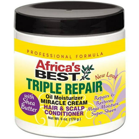 Africa's Best Triple Repair Oil Moisturizer Miracle Cream Hair & Scalp Conditioner 6 (Best Way To Straighten African American Hair)