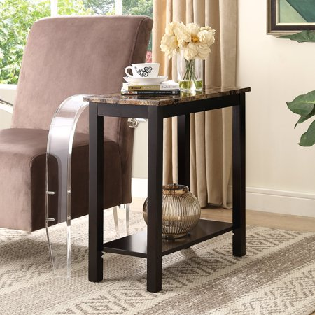 roundhill lediyana faux marble top side table in espresso finish. Black Bedroom Furniture Sets. Home Design Ideas
