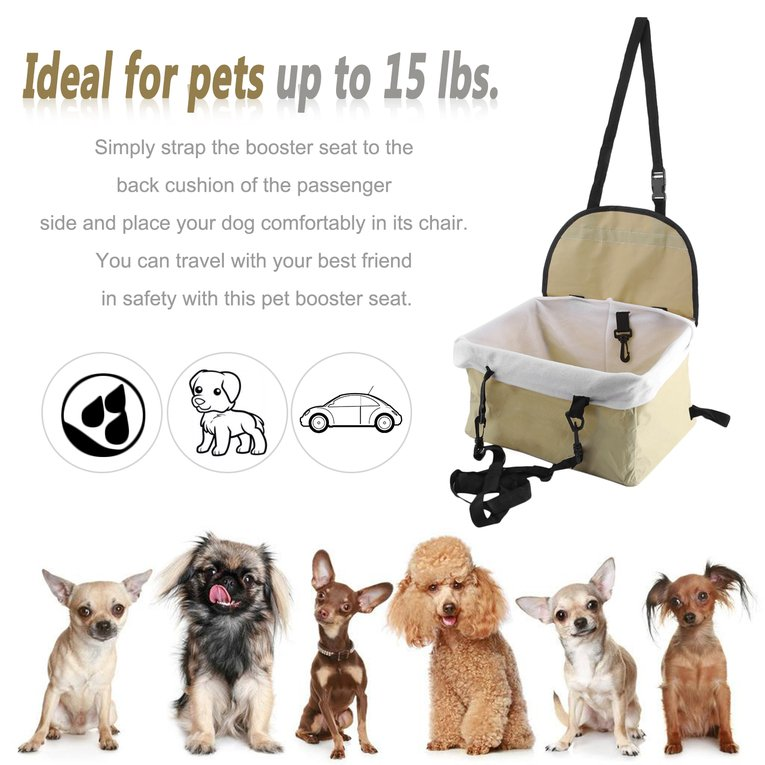 Beige Foldable Oxford Pet Cat Dog Booster Car Seat Bucket Basket For Small Dogs