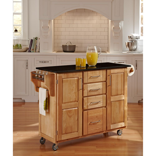 Home Styles Large Kitchen Cart, Natural With Black Granite Top