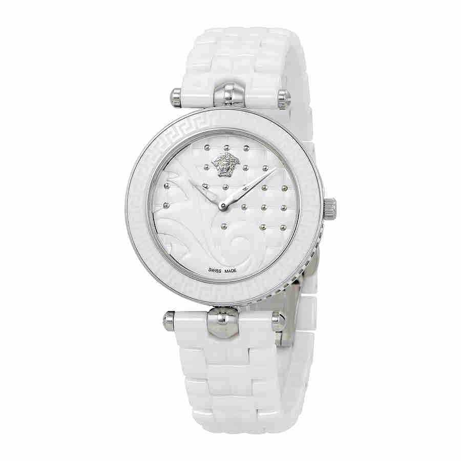 Versace Vanitas White Quilted Dial Ladies Watch VAO010016