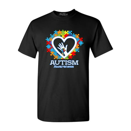 Shop4Ever Men's Autism Awareness Hands Puzzle Heart Graphic