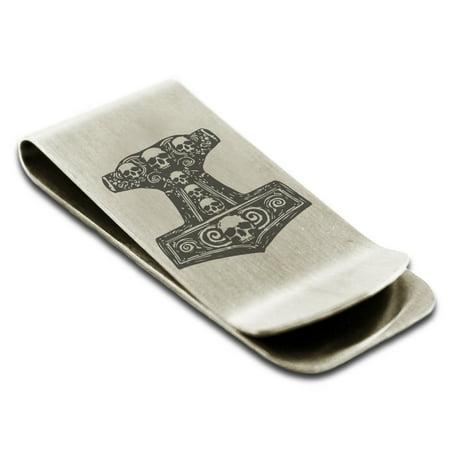 Stainless Steel Mjolnir Thor's Black Skull Hammer Engraved Money Clip Credit Card Holder