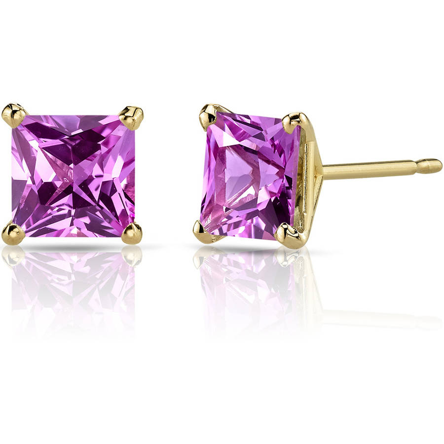 Oravo 3.00 Carat T.G.W. Princess-Cut Created Pink Sapphire 14kt Yellow Gold Stud Earrings by Oravo